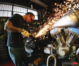 Jesse James fabricating a chopper at his West Coast shop