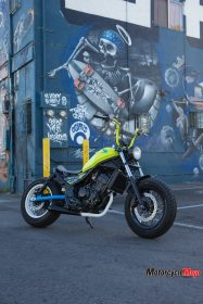 Honda Rebel Posing in Front of a Painting