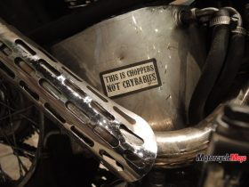Exhaust of a Custom Yamaha Motorcycle at the Oil and Rust Motorcycle Show