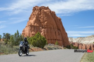 Riding the The 2017 Kawasaki Versys-X 300 past a Rock Formation